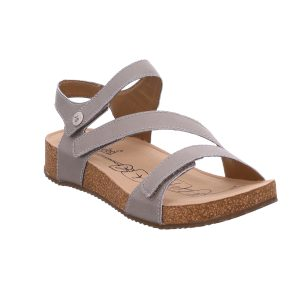 Fully adjustable ladies leather sandal with three straps over-foot for the perfect fit. Crafted in soft supple leathers Tonga 25 is a stylish and versatile sandal for day or evening wear. A leather sandal with a neutral cork-effect sole and a modern low wedge heel.
