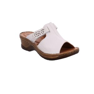 Briggsshoesmorecambe,buyonline.Ladies white leather clog with a 5cm wedge shaped heel. This mule features a soft, cushioned leather insole for the perfect slip-on fit and a fully adjustable strap overfoot. The adjustable strap has an intricate feminine cut out pattern, alongside a two-tone wood effect sole unit for all day style and comfort.