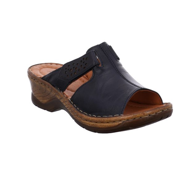 JOSEF SEIBEL – 56496 Catalonia 32 (OCEAN) Ladies navy leather clog with a 5cm wedge shaped heel. This mule features a soft, cushioned leather insole for the perfect slip-on fit and a fully adjustable strap overfoot. The adjustable strap has an intricate feminine cut out pattern, alongside a two-tone wood effect sole unit for all day style and comfort.