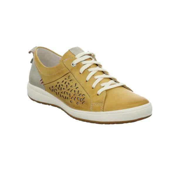 JOSEF SEIBEL – 67706 Caren 06 (GELB) Ladies casual leather trainer shoe finished in soft blue leathers, with floral cut-out side detail and a metallic silver heel, tongue and pull tab