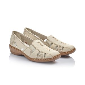 Ladies beige slip on shoes with two elasticated side panels for additional comfort. These low shoes have stitch and cut out detailing and feature faux snakeskin heel and trim.briggsshoes,morecambe,lancaster,summerrange,buynow,shoponline