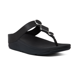 FITFLOP – LEIA Toe-Post Sandals (BLACK)FITFLOP – LEIA Toe-Post Sandals (BLACK)