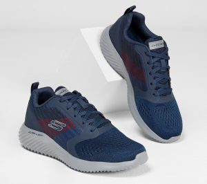 Jump the gap between flexible athletic comfort and sporty style with the SKECHERS Bounder - Verkona shoe. Woven knit mesh fabric and synthetic upper in a lace up athletic training and walking comfort sneaker with interwoven designs. Air Cooled Memory Foam insole, highly flexible comfort midsole.