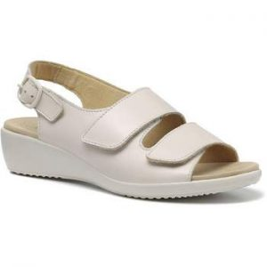 Hotter Easy summer sandal in beige colour real leather and comfortable Velcro straps