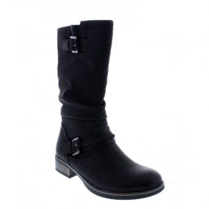 Black zip up ladies calf length boots with two decorative buckles. ONLY at briggs of Morecambe.