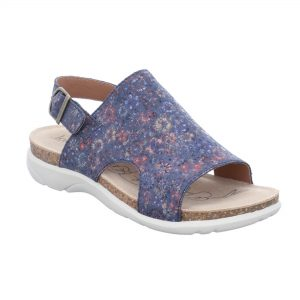 Ladies multi-coloured patterned leather sandal with a buckle strap